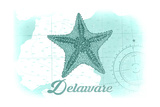 Delaware - Starfish - Teal - Coastal Icon Posters by  Lantern Press