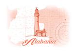 Alabama - Lighthouse - Coral - Coastal Icon Prints by  Lantern Press