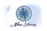 New Jersey - Compass - Blue - Coastal Icon Prints by  Lantern Press
