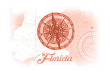 Florida - Compass - Coral - Coastal Icon Prints by  Lantern Press