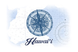 Hawaii - Compass - Blue - Coastal Icon Posters by  Lantern Press