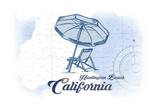 Huntington Beach, California - Beach Chair and Umbrella - Blue - Coastal Icon Prints by  Lantern Press