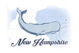 New Hampshire - Whale - Blue - Coastal Icon Art by  Lantern Press