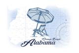 Orange Beach, Alabama - Beach Chair and Umbrella - Blue - Coastal Icon Poster by  Lantern Press