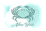 New York - Crab - Teal - Coastal Icon Prints by  Lantern Press