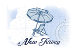 New Jersey - Beach Chair and Umbrella - Blue - Coastal Icon Prints by  Lantern Press