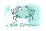 New Hampshire - Crab - Teal - Coastal Icon Art by  Lantern Press