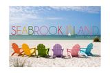 Seabrook Island, South Carolina - Colorful Beach Chairs Posters by  Lantern Press