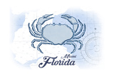 Miami, Florida - Crab - Blue - Coastal Icon Poster by  Lantern Press