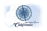Huntington Beach, California - Compass - Blue - Coastal Icon Art by  Lantern Press