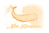 New Hampshire - Whale - Yellow - Coastal Icon Poster by  Lantern Press