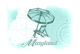 Maryland - Beach Chair and Umbrella - Teal - Coastal Icon Posters by  Lantern Press