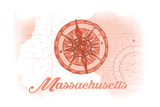Massachusetts - Compass - Coral - Coastal Icon Prints by  Lantern Press