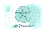 Alabama - Sand Dollar - Teal - Coastal Icon Posters by  Lantern Press