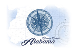 Orange Beach, Alabama - Compass - Blue - Coastal Icon Prints by  Lantern Press