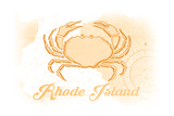 Rhode Island - Crab - Yellow - Coastal Icon Posters by  Lantern Press