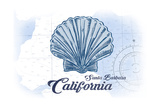 Santa Barbara, California - Scallop Shell - Blue - Coastal Icon Prints by  Lantern Press