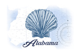 Alabama - Scallop Shell - Blue - Coastal Icon Posters by  Lantern Press