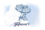 Hawaii - Beach Chair and Umbrella - Blue - Coastal Icon Print by  Lantern Press