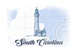 South Carolina - Lighthouse - Blue - Coastal Icon Posters by  Lantern Press