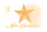 New Hampshire - Starfish - Yellow - Coastal Icon Posters by  Lantern Press