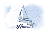 Waikiki, Hawaii - Sailboat - Blue - Coastal Icon Prints by  Lantern Press