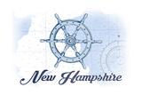 New Hampshire - Ship Wheel - Blue - Coastal Icon Prints by  Lantern Press