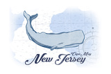 Cape May, New Jersey - Whale - Blue - Coastal Icon Posters by  Lantern Press