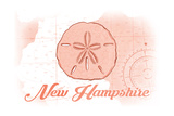 New Hampshire - Sand Dollar - Coral - Coastal Icon Posters by  Lantern Press