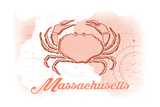 Massachusetts - Crab - Coral - Coastal Icon Prints by  Lantern Press