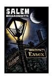 Salem, Massachusetts - Street Lampost at Night - Scratchboard Prints by  Lantern Press