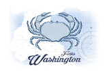 Forks, Washington - Crab - Blue - Coastal Icon Posters by  Lantern Press