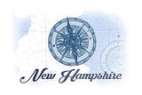 New Hampshire - Compass - Blue - Coastal Icon Prints by  Lantern Press