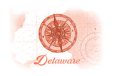 Delaware - Compass - Coral - Coastal Icon Poster by  Lantern Press