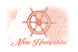 New Hampshire - Ship Wheel - Coral - Coastal Icon Poster by  Lantern Press