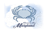 Chesapeake Bay, Maryland - Crab - Blue - Coastal Icon Prints by  Lantern Press