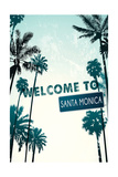 Santa Monica, California - Street Sign and Palms Prints by  Lantern Press