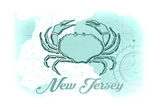 New Jersey - Crab - Teal - Coastal Icon Prints by  Lantern Press