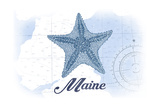 Maine - Starfish - Blue - Coastal Icon Prints by  Lantern Press