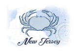 New Jersey - Crab - Blue - Coastal Icon Prints by  Lantern Press