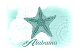 Alabama - Starfish - Teal - Coastal Icon Poster by  Lantern Press