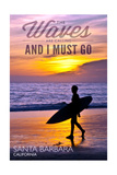 Santa Barbara, California - the Waves are Calling - Surfer and Sunset Prints by  Lantern Press