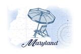 Maryland - Beach Chair and Umbrella - Blue - Coastal Icon Print by  Lantern Press