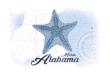 Mobile, Alabama - Starfish - Blue - Coastal Icon Prints by  Lantern Press