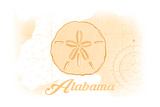 Alabama - Sand Dollar - Yellow - Coastal Icon Prints by  Lantern Press