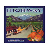 Highway Brand - Ontario, California - Citrus Crate Label Prints by  Lantern Press