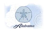 Alabama - Sand Dollar - Blue - Coastal Icon Print by  Lantern Press