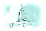 South Carolina - Sailboat - Teal - Coastal Icon Prints by  Lantern Press