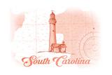 South Carolina - Lighthouse - Coral - Coastal Icon Art by  Lantern Press