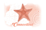 Connecticut - Starfish - Coral - Coastal Icon Prints by  Lantern Press